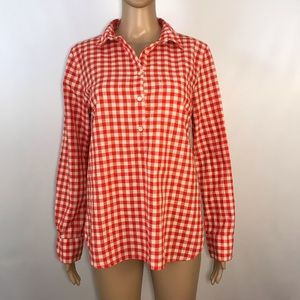 J Crew Boy Fit Top Gingham Check Red White M
